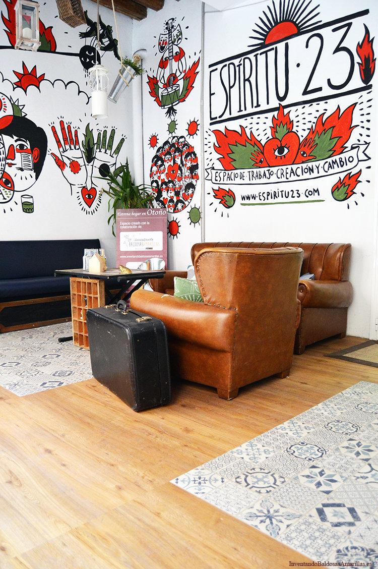 suelo y sillones vintage