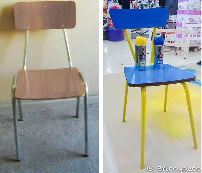 antes y después de pintar una silla con spray