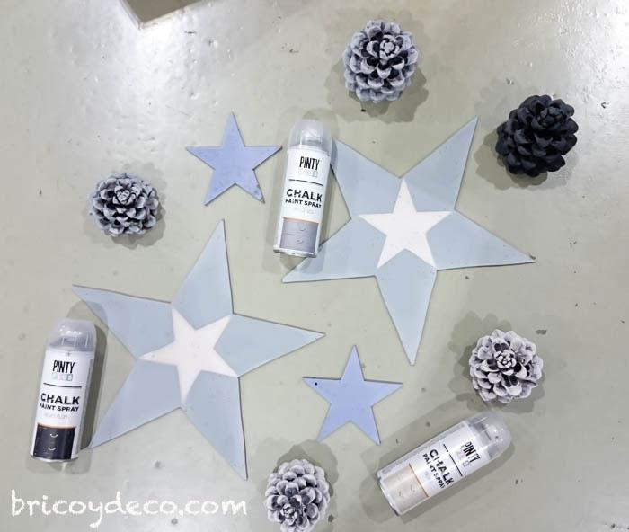decoración navideña con chalk paint en spray