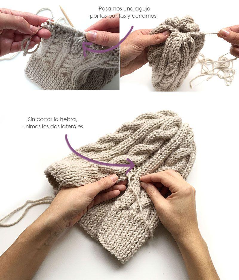 Gorro de lana de ochos con pompón - Handbox Craft Lovers | Comunidad ...