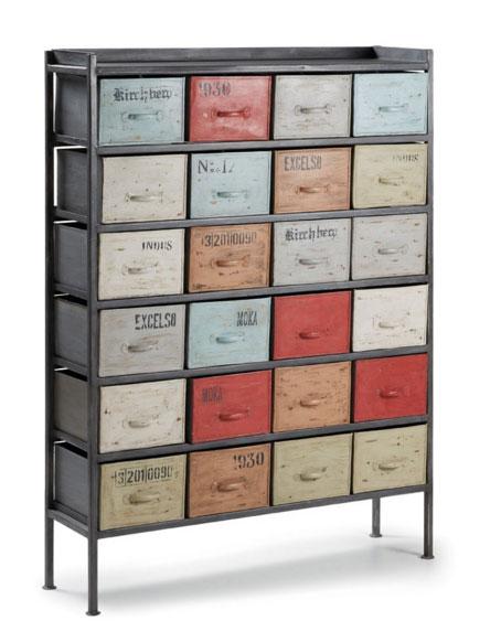 mueble estilo industrial con diferentes colores