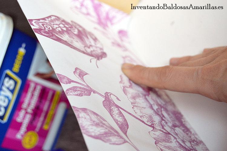 decorar cajones papel flores