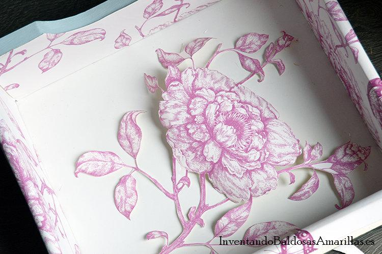 decorar cajones papel flores rosas