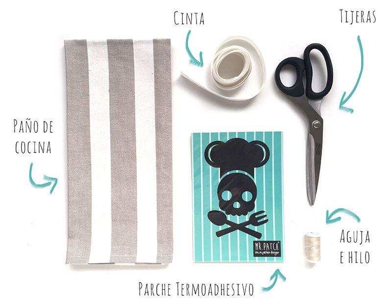 Materiales para hacer un delantal de un paño de cocina