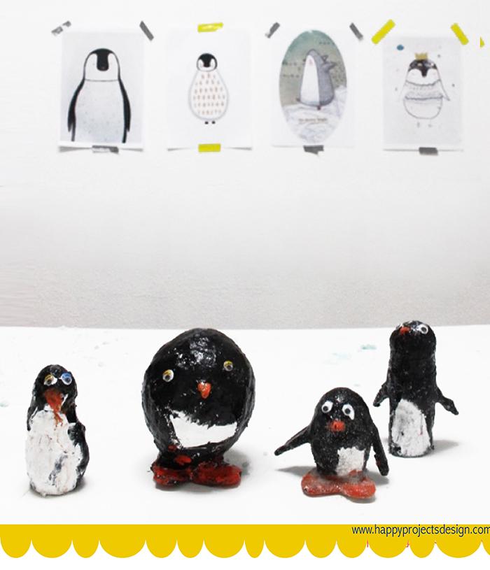 manualidades con vendas de escayola: Pingüinos