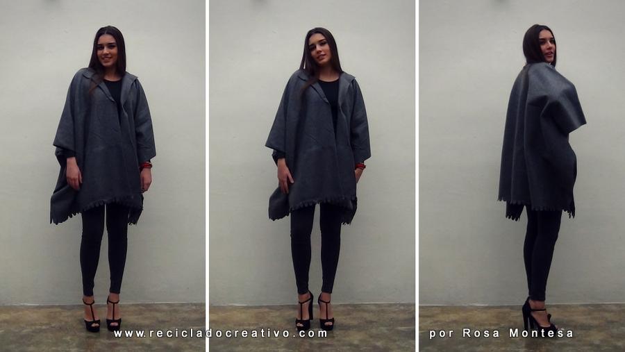 c2feeab583796 DIY Abrigo manta sin coser - Blanket coat no sew Por RecicladoCreativo.com