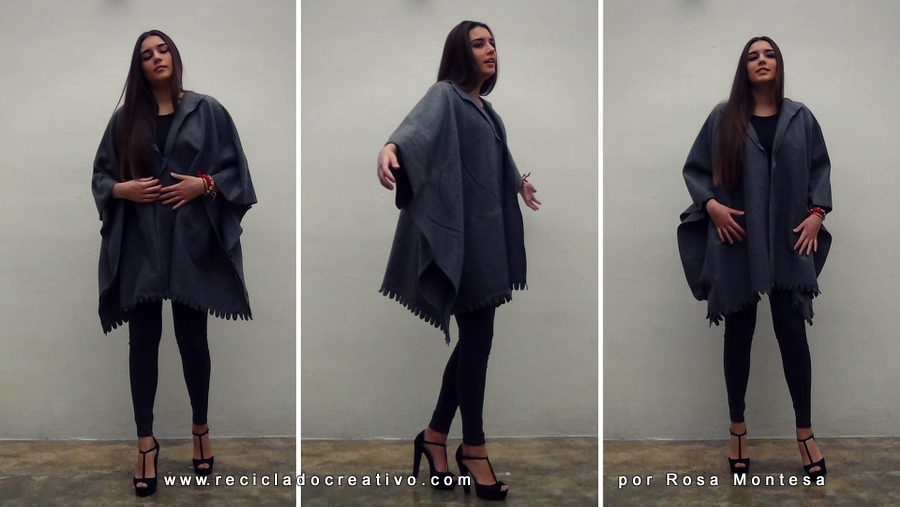 DIY Abrigo manta sin coser - Blanket coat no sew Por RecicladoCreativo.com