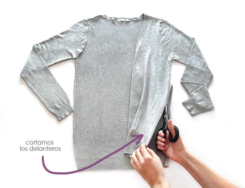 Chaqueta de punto y polipiel de un cardigan básico -DIY-