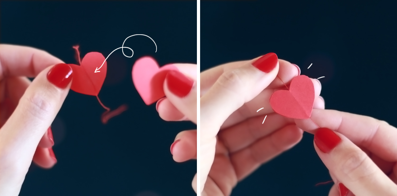 pasos para hacer una guirnalda de corazones