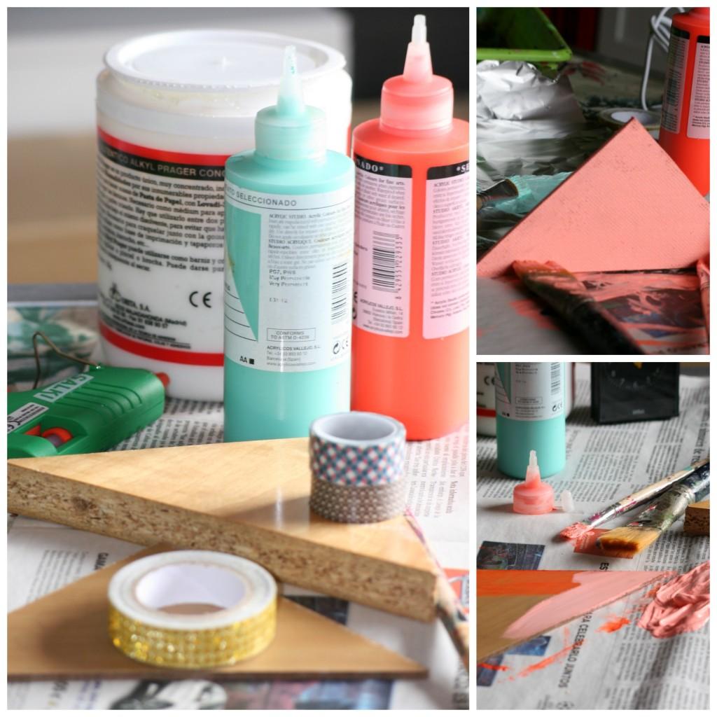 Cola, silicona, acrílicos, washi tape y barniz