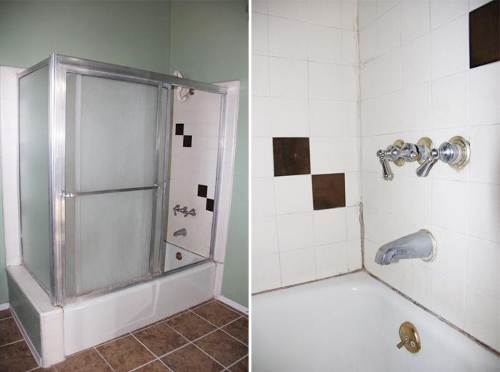 Antes y después de un baño azul y dorado