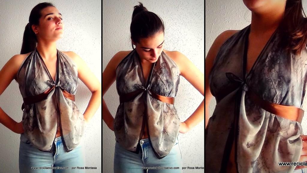 Blusa sin coser, con dos pañuelos. DIY
