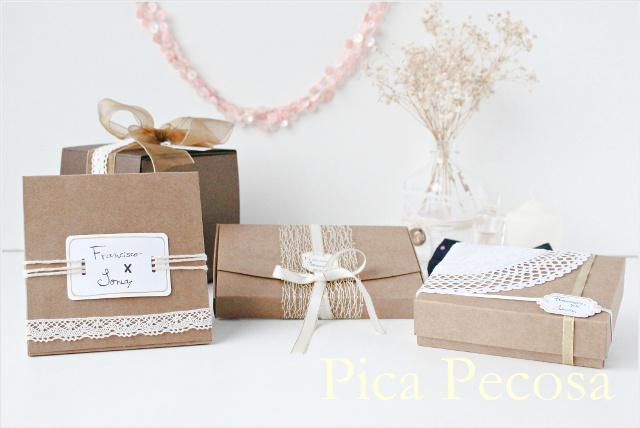 5 cajas de cart n diy para dar regalos a los invitados de for Cajas de carton decoradas