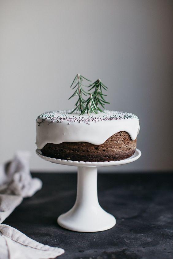 Cake topper bosque nevado