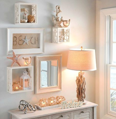 Coastal cube shelves for the wall with starfish and shell cutouts: https://www.completely-coastal.com/2015/08/coastal-wall-cube-shelves.html: