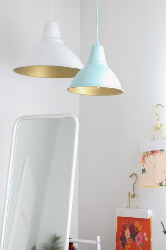 DIY Lámparas en oro-resultado final