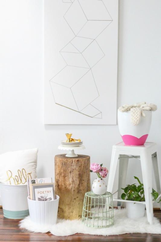 DIY Jarrón en blanco y oro