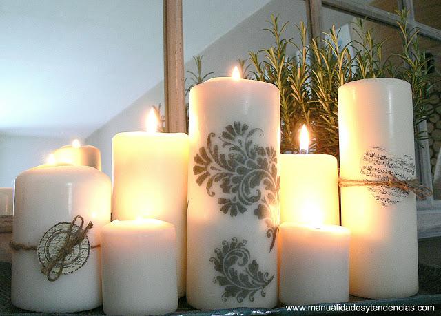 Como Decorar Velas Con Sellos Candle Decorating Idea Handbox - Como-decorar-una-vela