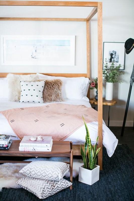 Renovar un dormitorio con presupuesto mini - dorsel de madera