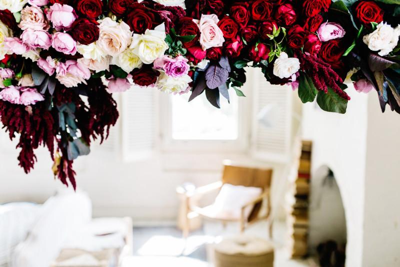 Detalle floral para una fiesta de San Valentín