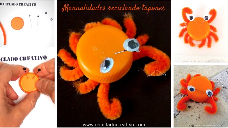 Cangrejo DIY - manualidad con tapones