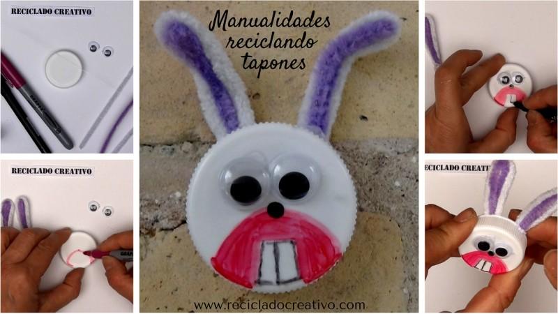 Reciclaje y manualidades para niños. Conejo con tapones