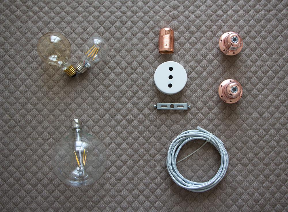 Diy, lámpara de cable textil