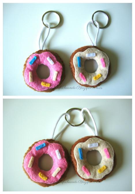 llaveros mini donuts de fieltro