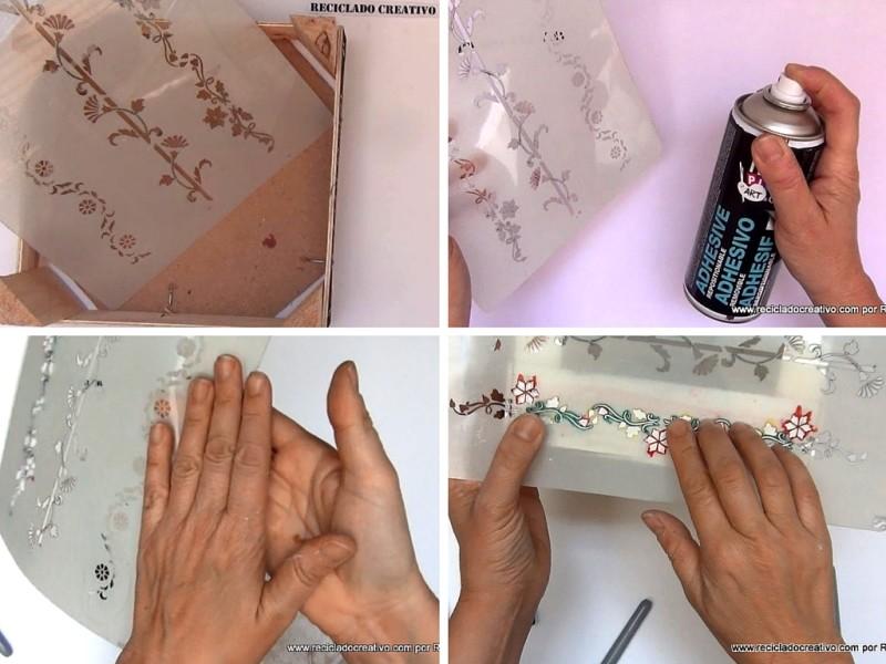 Pintando con plantillas y spray autoadhesivo removible