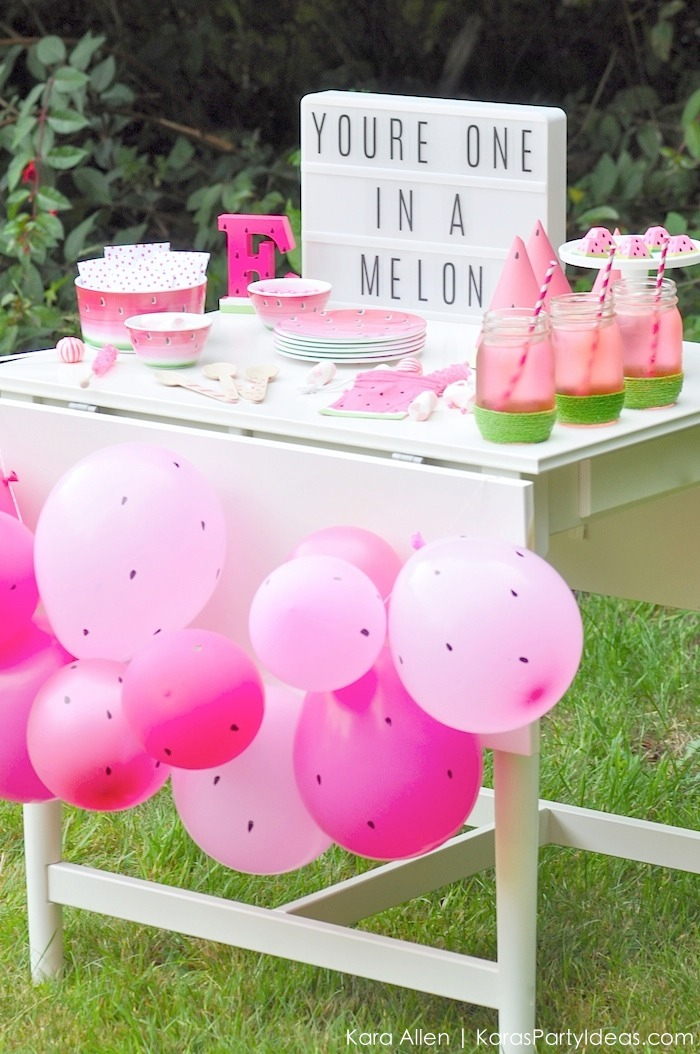 Watermelon-themed-DIY-birthday-party-dessert-treat-table-by-Karas-Party-Ideas-Kara-Allen-KarasPartyIdeas.com-MichaelsMakers-Youre-one-in-a-melon-13
