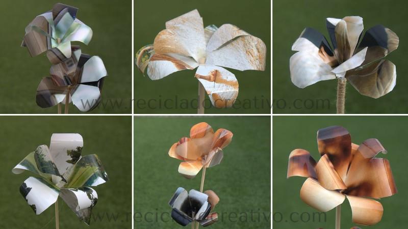 Reciclaje de papel de fotos. Flores