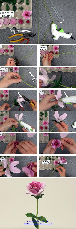 Cómo hacer una rosa con huevera de cartón y percha de ropa de alambre