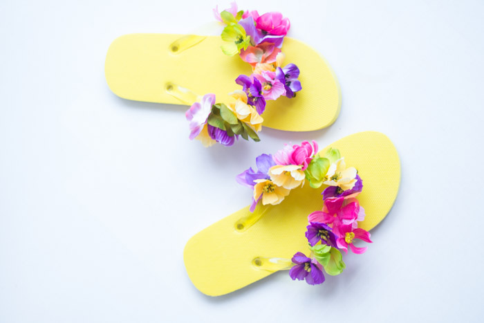 Chanclas flores diy