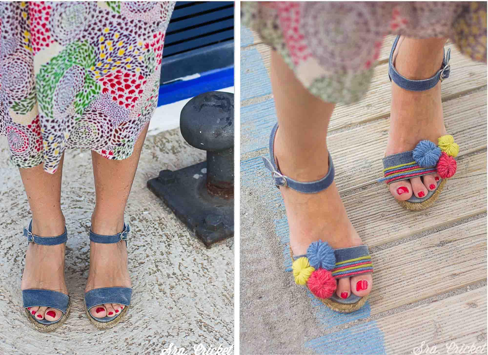 colocar adornos en sandalias