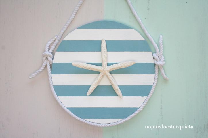 Cartel de madera marinero. Decoración. Inspiración marinera. Chalk paint. Estrella de mar. Nudos marineros.