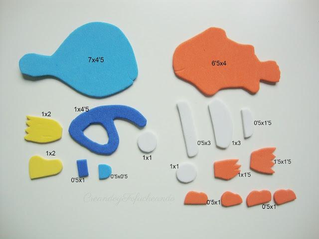 Medidas de las piezas para la visera de goma eva de nemo y dory