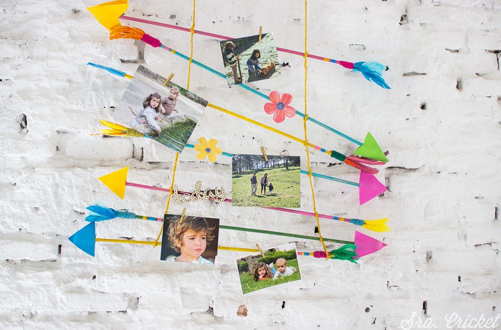 portafotos diy con flechas