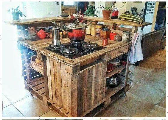 Muebles de palets DIY - Isla de cocina