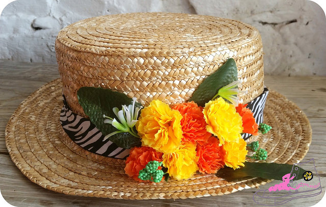 diy canotier con flores