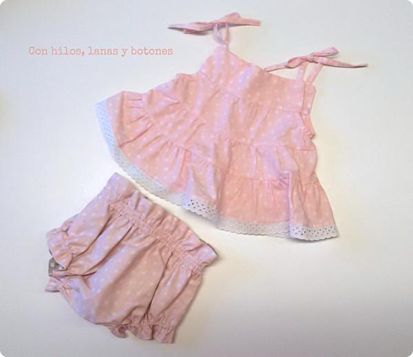 Con hilos, lanas y botones: Vestido de estrellitas para bebé