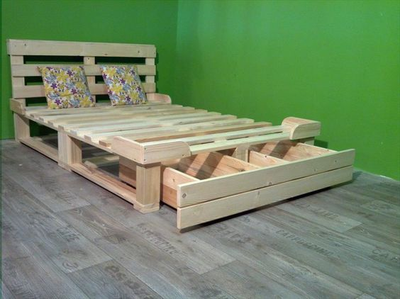 Muebles de palets - Recycled-things-com - Cama con almacenaje