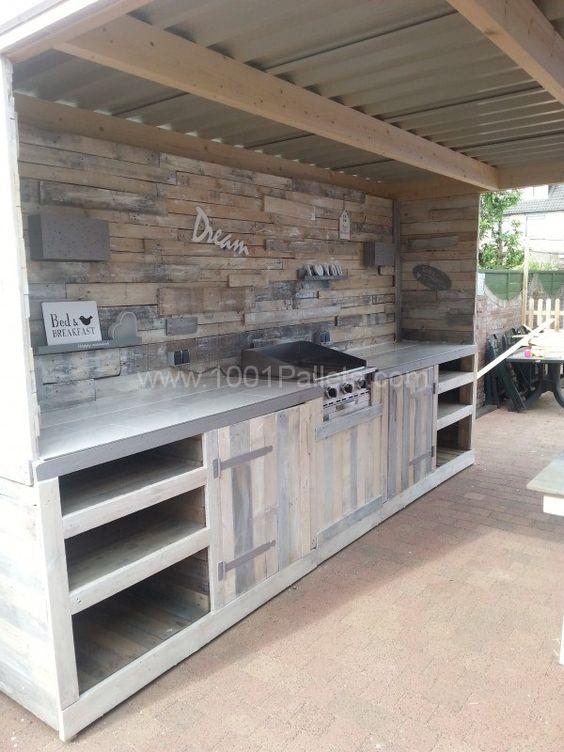 muebles de palets - cocina de exterior