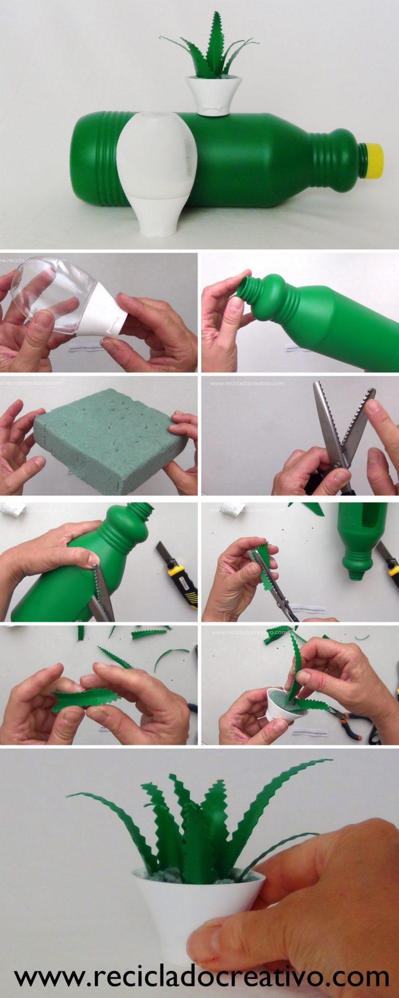 Miniatura de aloe vera DIY con botellas de plástico