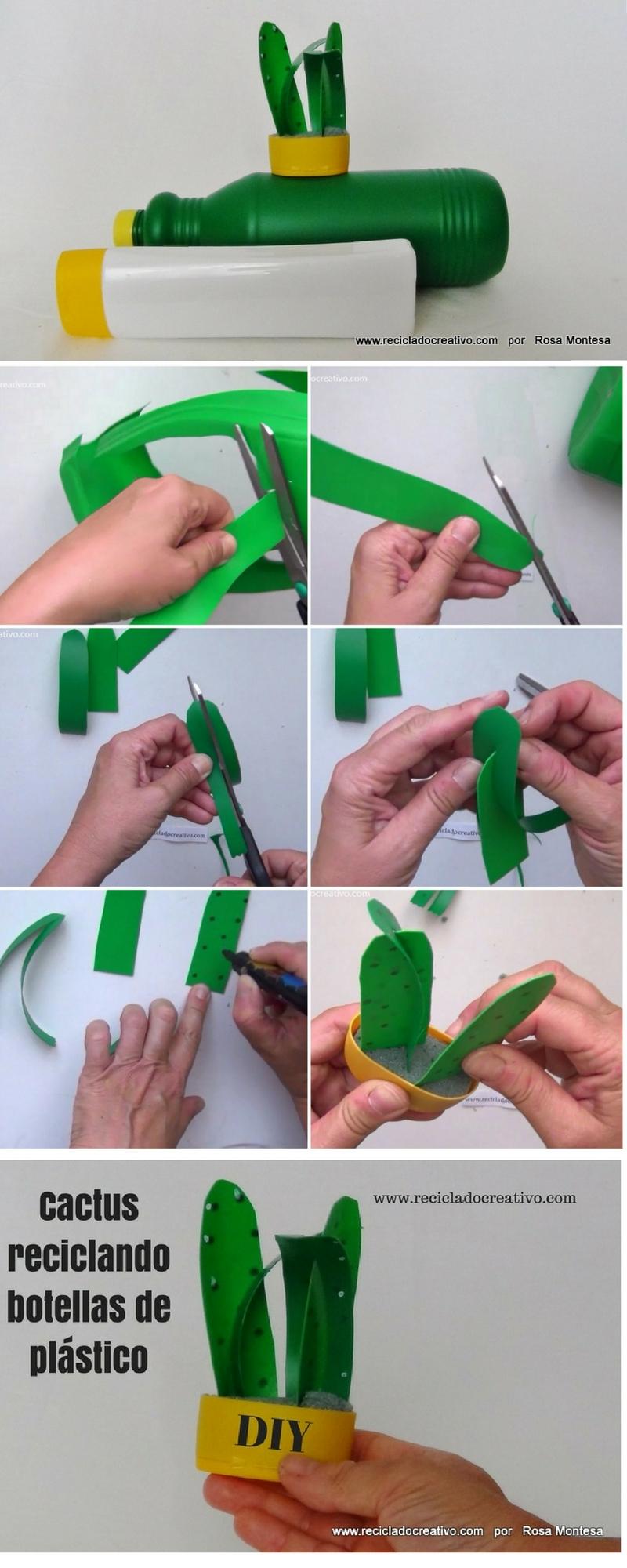 DIY Manualidad Cactus realizado con botellas de plástico recicladas