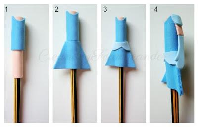 vamos haciendo el vestido del fofulápiz cenicienta paso a paso