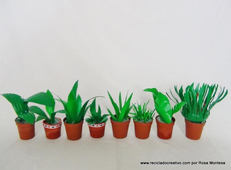 DIY Manualidad mini plantas realizadas con botellas de plástico recicladas