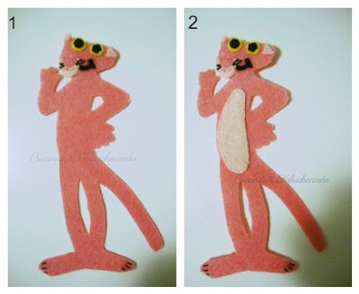 Añadimos uñas y barriga como ultimos detalles de la pantera rosa en fieltro para marcapaginas