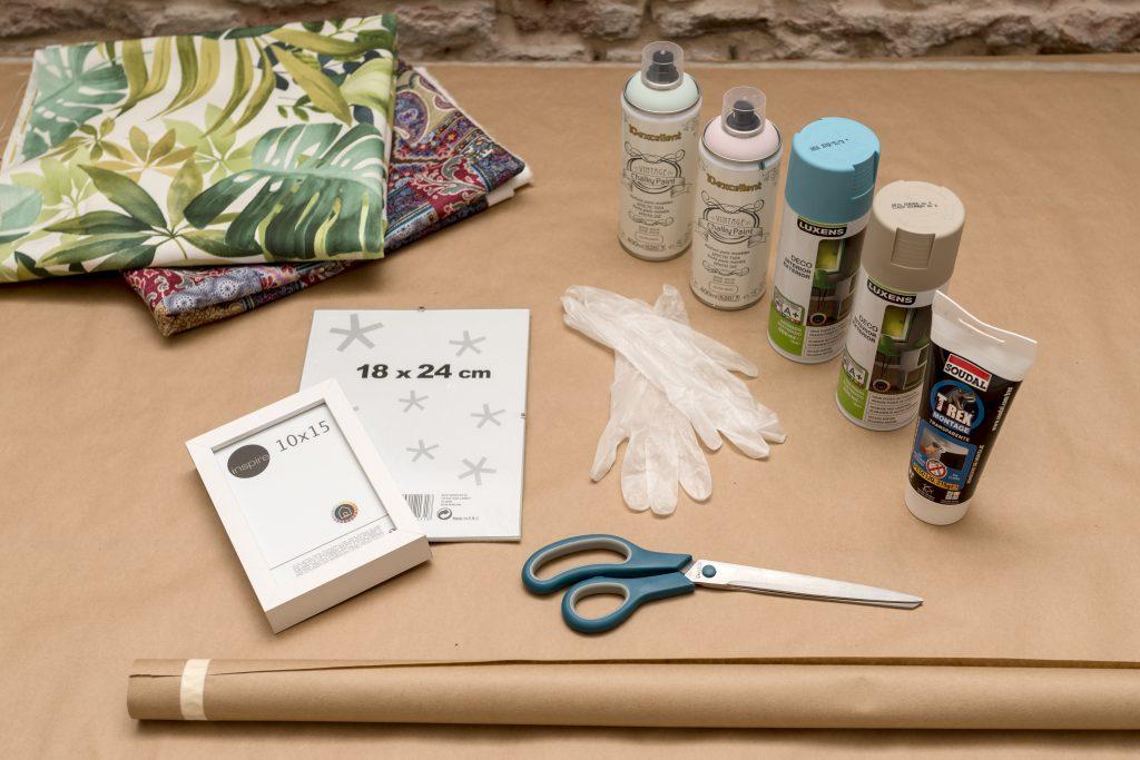 Taller DIY LM decorar un marco con telas - Materiales