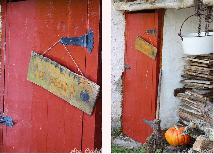 cartel de madera halloween