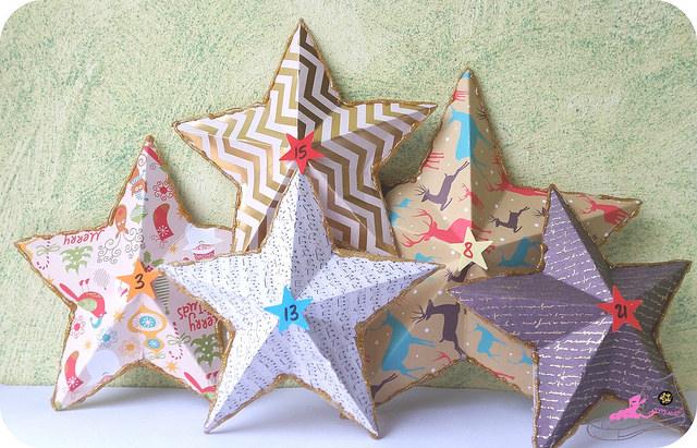 estrellas con relieve para calendario de adviento